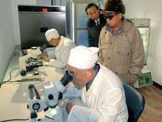 dear leader looking at scientists. :)