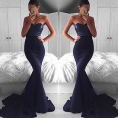 Sequin Navy blue prom dresses, Sexy Mermaid prom dress, formal prom dress, Fishtail prom dress.Off the shoulder dress