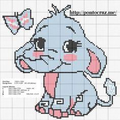 elefante rosa ponto cruz para meninas