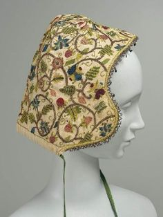 Embroidered cap. English, late 16th–early 17th century. MFA