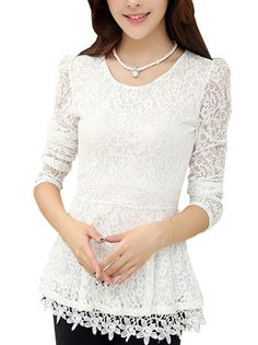 Long Sleeve Pure Color Cutwork Pleated Lace T Shirt Cute Tops on buytrends.com