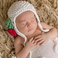 White Christmas Baby Bonnet for Girls with Red and Green Crochet Rosettes icon White Christmas, Christmas Hats, Baby Girl Born, Baby Bonnets, Newborn Crochet, Girl With Hat, Rosettes, Baby Hats, Toddler Girl