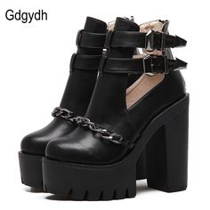6817fb7ec07 Gdgydh Spring Autumn Fashion Ankle Boots For Women High Heels Casual  Cut-outs Buckle Round Toe Chain Thick Heels Platform Shoes