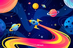 Colorful gradient space with a rocket background Free Vector Rocket Cartoon, Cartoon Spaceship, Astronaut Illustration, Space Illustration, Wall Drawing, Art Drawings, Cartoon Background, Gradient Background, Pattern Background