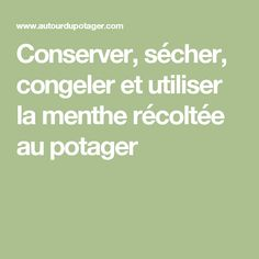 Conserver, sécher, congeler et utiliser la menthe récoltée au potager Food And Drink, Math, Nutrition, Drinks, Syrup, Juice, Sugar, Herbs, Drinking