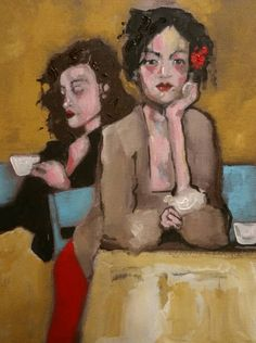 Original Acrylic Painting 12 x 16 Alone at a Coffee by EtsyLoft