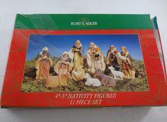 """Kurt S Adler 11 Piece Nativity Figures Set 4-5"""" Baby Jesus Christmas Mary Joseph"""