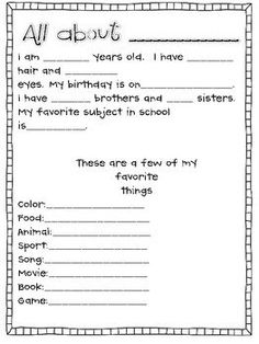 This sheet is one that can be used as a getting to know you game within the first few weeks of school. You simply give each kid a sheet and have them fill it out the answers to each question. For sharing you can have them do it in small groups or with the