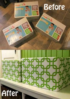 storage boxes out of diaper boxes. Great idea for new Mothers and all their diapers they go thru. Reuse the box :)