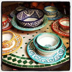 Pottery, tableware...Marrakech, Morocco