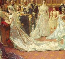 Wedding dress of Princess Mary of Teck I love that a dress riveted a nation and made or broke an entire industry in Britain. Her mother, head of the National Silk Association, thought of this genius marketing idea to commission this dress to a great courtier -- limited only to silk fabric. The wedding also was captured by the official royal wedding painters. Screw photographers, I want a commissioned wedding painting in oils, seen here. #historyoffashion #19thcenturyfashion #maryofteck