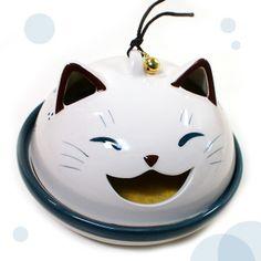 薬師窯笑み猫蚊遣り器平型(蚊取り線香鉢)【日本製】(猫雑貨猫グッズ)