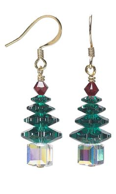 Instructions to make Christmas Tree Earrings with SWAROVSKI ELEMENTS