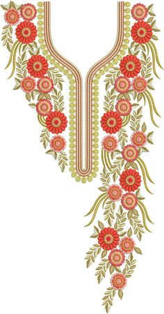 Latest Neck Designs for Kurtis / Dress / Hand Embroidery Dress, Embroidery Neck Designs, Embroidery Works, Machine Embroidery Patterns, Doily Patterns, Silk Ribbon Embroidery, Embroidery On Kurtis, Kurti Embroidery Design, Floral Embroidery