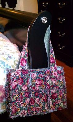Floral rag quilt purse #sewshabbydesigns