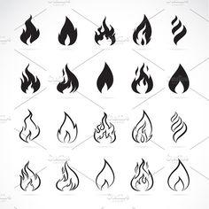 Vector set of flame symbols. Dope Tattoos, Mini Tattoos, Small Tattoos, Tattoos For Guys, Forearm Tattoos, Tatoos, Fire Tattoo, Tattoo Set, Easy Drawings
