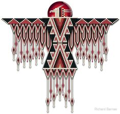 Southwest-style Native American beadwork thunderbird in mock beads of bright scarlet red, labradorit Native American Patterns, Native American Regalia, Native American Symbols, Native American Beauty, Native American Beadwork, American Women, American Indians, Native Beading Patterns, Beadwork Designs