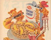 "1955 Post Sugar Crisp Cereal ""Happy Homework"" Vintage Ad"