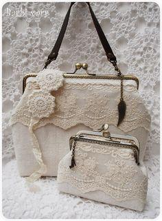 Romantic lace bag and purse set