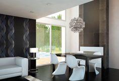 Bonita combinación de madera y asientos de diseño moderno en color blanco. En Muebles Bonitos también podrás encontrar sillas de diseño a precio super barato :)
