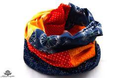 Loop Schal Rundschal - ganz bunt aus der Lieblingsmanufaktur - hier sattes Orange mit dunklem Blau