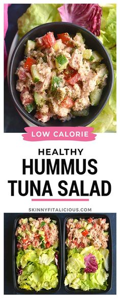Healthy Hummus Tuna Salad is a low calorie, low carb lunch ready in 10 minutes. #healthy #hummus #tuna #salad #lowcalorie #lowcarb #lunch #mealprep #glutenfree #lowcaloriediet #lowcarbdiet