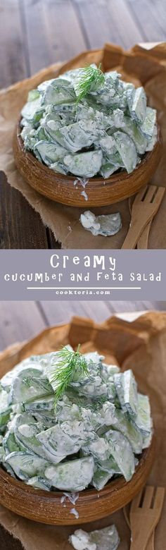 Delicious and creamy cucumber and feta salad that your whole family will love. COOKTORIA.COM