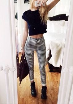 Checkered Pants And Black Boots