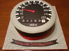 Speedometer boys mens 21st birthday cake