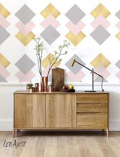 Gold Squares   Modern Wallpaper   Minimalistic  Removable
