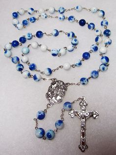 Rosary - Fatima Anniversary Rosary, Traditional 5 decade rosary - blue and white porcelain - Fatima Cross and Fatima Cathedral - TR 01 Beaded Jewelry Designs, Diy Jewelry, Jewelry Making, Jewlery, Holy Rosary, Rosary Catholic, Rosary Bracelet, Rosary Beads, Religious Jewelry