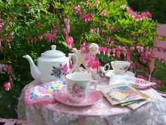 Tea by the Bleeding Heart Flowers from Two Cottages and Tea