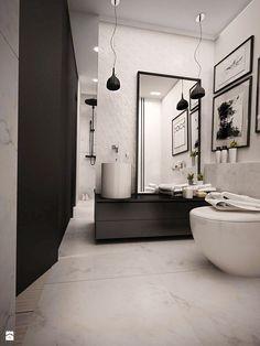 Czarno białe mieszkanie z antresolą - Łazienka, styl skandynawski - zdjęcie od eldevision