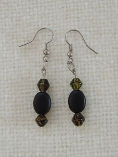 Fish Hook Silver Color Beaded Dangle Earrings Green by StitchMetal, $7.00