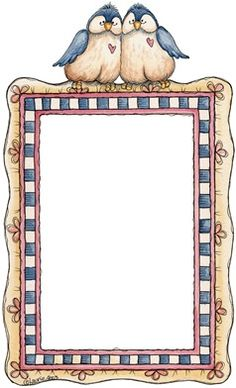 Country style frame with love bird sitters