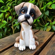 Fondant Dog, Animal Cakes, Clay Animals, Sugar Art, Boxer Dogs, Cold Porcelain, Making Out, Biscuits, Dinosaur Stuffed Animal