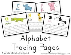 Alphabet Tracing Pages with cute graphics and other pre-kindergarten activities Learning Letters, Preschool Learning, In Kindergarten, Preschool Activities, Teaching Kids, Kids Learning, Preschool Alphabet, Alphabet Cards, Alphabet Activities