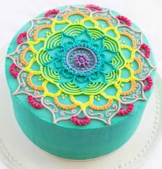 Beautiful Cake Pictures Colorful Patterned Swirl on White Cake