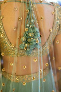 Sabyasachi Bridal Wedding Lehenga with gorgeous latkans. Bridal Dupatta, Indian Bridal Lehenga, Bridal Outfits, Bridal Dresses, Lehenga Blouse, Lehenga Choli, Sarees, Lehnga Dress, Blouse Dress