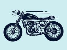 Pen & ink illustration for a rejected logo. Motorbike Design, Motorbike Cake, Ducati Motorbike, Mini Motorbike, Triumph Motorbikes, Motorbike Girl, Bike Logo, Motorcycle Logo, Bike Illustration