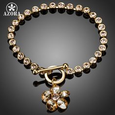 Gold Plated with Round Stellux Austrian Crystals Flower Pendant Charm Bracelet TS0059