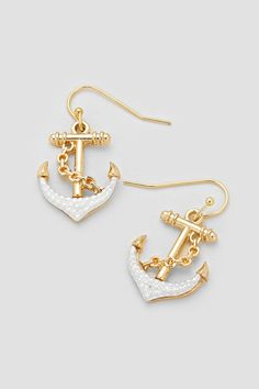 Nautical Earrings in Silver on Gold on Emma Stine Limited Anchor Jewelry, Cute Jewelry, Jewelry Box, Jewelery, Jewelry Accessories, Fashion Accessories, Jewelry Trends, Gold Jewelry, Women Accessories