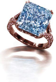 Blue and Pink Diamond Ring by CORA