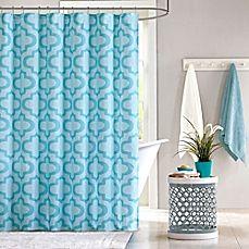 image of Intelligent Design Pilar Shower Curtain in Aqua