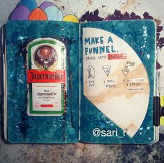 Wreck this journal page by Sari Raković #wreckthisjournal  >make a funnel, drink some water<