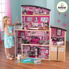 Kidkraft Glamorous Sparkle Mansion Curved Roof Dollhouse Furniture