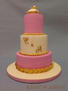 TARTA DE BODA ROSA Y DORADO HADAS DE AZUCAR GUADALAJARA / PINK AND GOLDEN WEDDING FONDANT CAKE