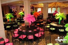 neon table decorations using feathers
