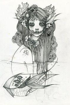 evil mermaid sketch - Google Search