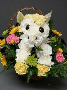 Carnations Horse arrangement by Alexis over at Forget-Me-Not Flowers and Gifts LLC Creative Flower Arrangements, Funeral Flower Arrangements, Funeral Flowers, Floral Arrangements, Puppy Flowers, Horse Flowers, Wood Flowers, Gift Flowers, Rainbow Bouquet